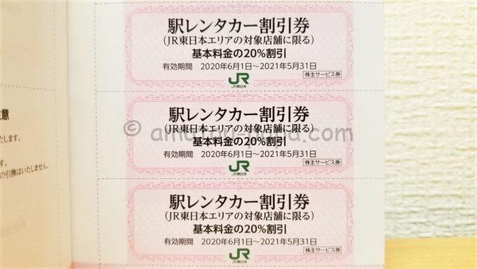 東日本旅客鉄道株式会社(JR東日本)の株主優待「駅レンタカー割引券」