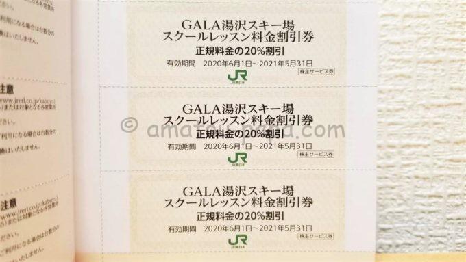 東日本旅客鉄道株式会社(JR東日本)の株主サービス券「GALA湯沢スキー場 スクールレッスン料金割引券」