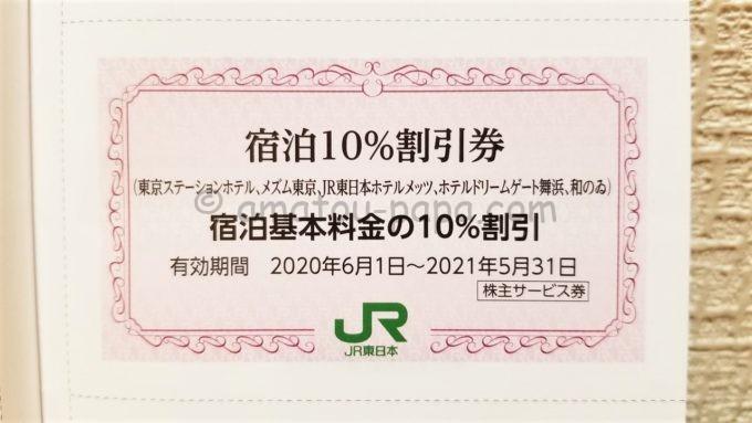 東日本旅客鉄道株式会社(JR東日本)の株主サービス券「宿泊10%割引券」