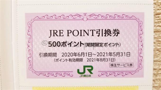 東日本旅客鉄道株式会社(JR東日本)の株主サービス券「JRE POINT引換券」