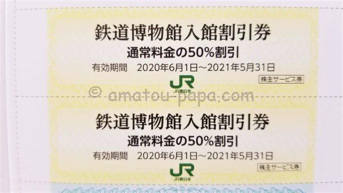 東日本旅客鉄道株式会社(JR東日本)の株主サービス券「鉄道博物館入館割引券」