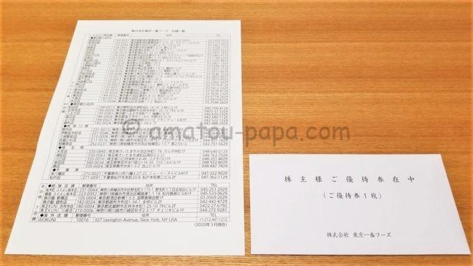 東京一番フーズの株主優待券が入っている封筒と利用可能店舗一覧