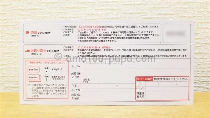 東京一番フーズの株主優待券(裏面)