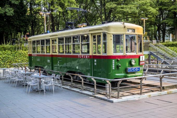 名古屋市博物館にある電車(ワンマンカー)