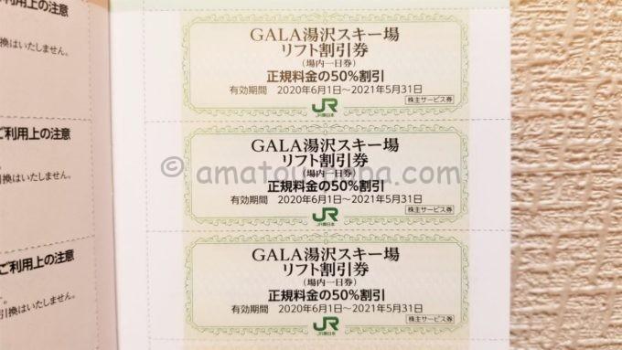 東日本旅客鉄道株式会社(JR東日本)の株主サービス券「GALA湯沢スキー場 リフト割引券」