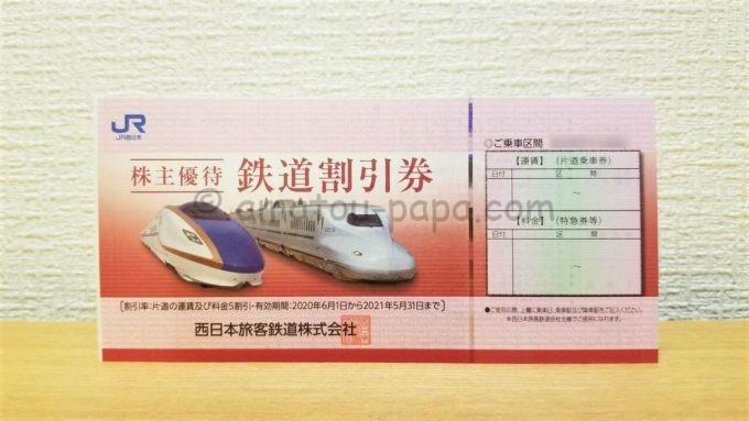 西日本旅客鉄道株式会社(JR西日本)の株主優待「鉄道割引券」
