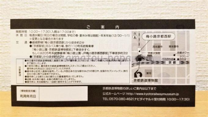 西日本旅客鉄道株式会社(JR西日本)の株主優待「京都鉄道博物館 入館割引券」の裏面