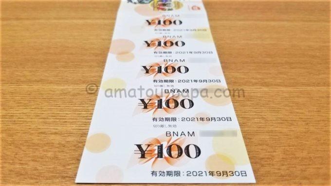 株式会社バンダイナムコホールディングスの株主優待券(アミューズメントチケット)の100円分の金券