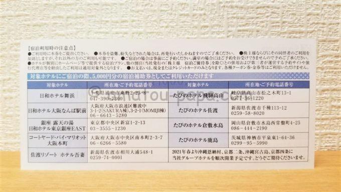 サンフロンティア不動産株式会社の宿泊補助券(裏面)
