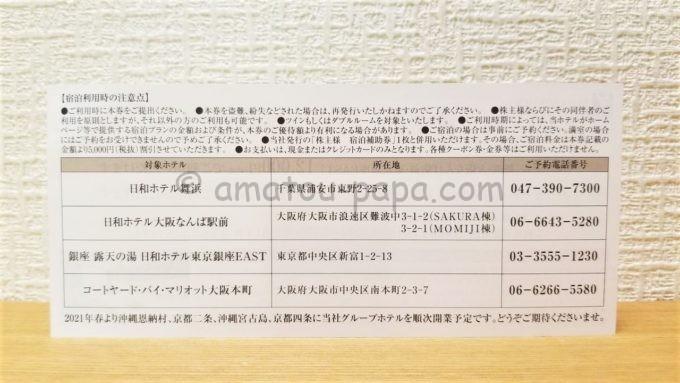 サンフロンティア不動産株式会社の宿泊ご優待券(裏面)