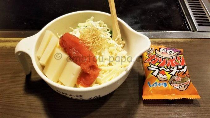 お好み焼き 道とん堀のもんじゃ焼き(もち明太子+スナックラーメン)