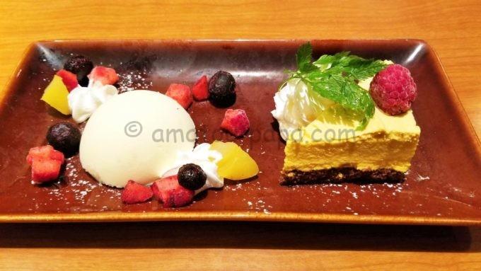 和豚もちぶたしゃぶしゃぶ きんのぶたのデザート(栗と国産かぼちゃのしっとりムースケーキ)