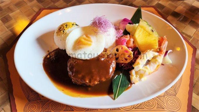 ポリネシアンテラス・レストランのロコモコプレート・ドリンクセット
