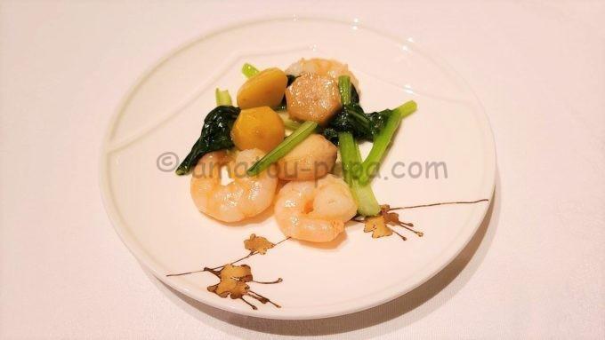シルクロードガーデンの海老と青菜の炒め