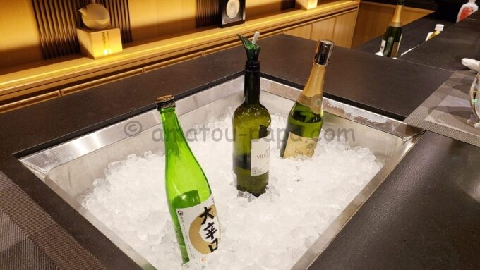 ザ・プリンス さくらタワー東京、オートグラフ コレクションのエグゼクティブラウンジのカクテルタイムの日本酒・ワイン・シャンパン