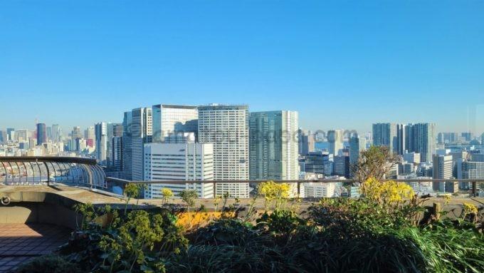 東京マリオットホテルのエグゼクティブラウンジからの景色(東京タワー・レインボーブリッジなど)