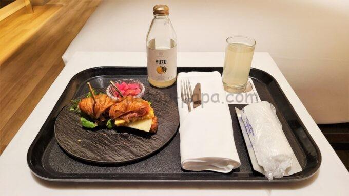 ACホテル・バイ・マリオット東京銀座のプラチナ特典「柚子ソーダとクロワッサンサンド」