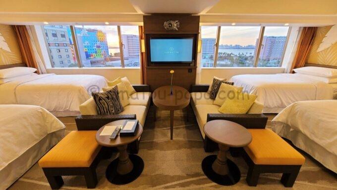 シェラトン・グランデ・トーキョーベイ・ホテルのパークウイングルーム 4ベッド(コーナールーム)