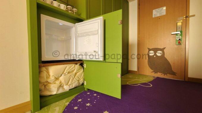 ヒルトン東京ベイのファミリーハッピーマジックルームの冷蔵庫