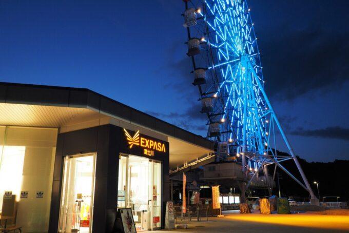 富士川サービスエリア「大観覧車 フジスカイビュー」のライトアップ