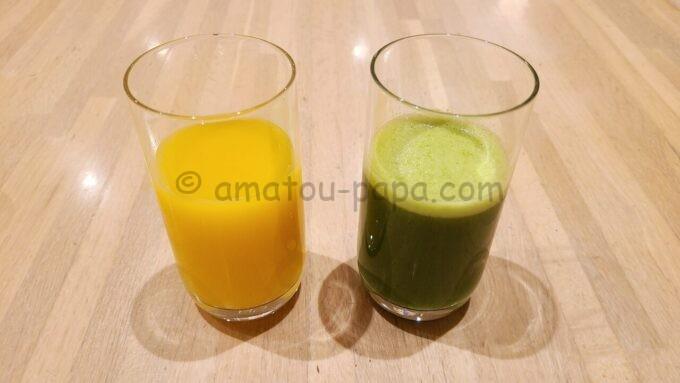 ホテルオークラ東京ベイの朝食(オレンジジュースとスムージー)