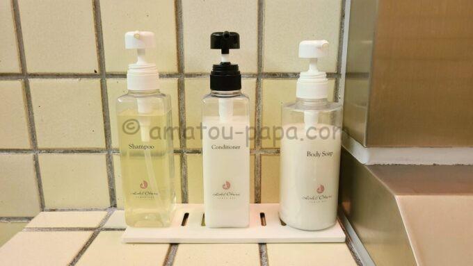 ホテルオークラ東京ベイの貸切風呂のシャンプー、コンディショナー、ボディーソープ