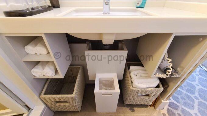 東京ベイ舞浜ホテル ファーストリゾートのキャッスルルーム・ワンダーの洗面台の下に収納されているタオルやドライヤー
