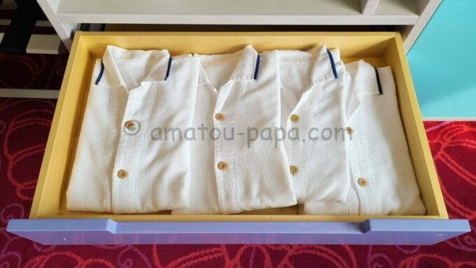 東京ディズニーセレブレーションホテル ウイッシュのスーペリアルームのパジャマ
