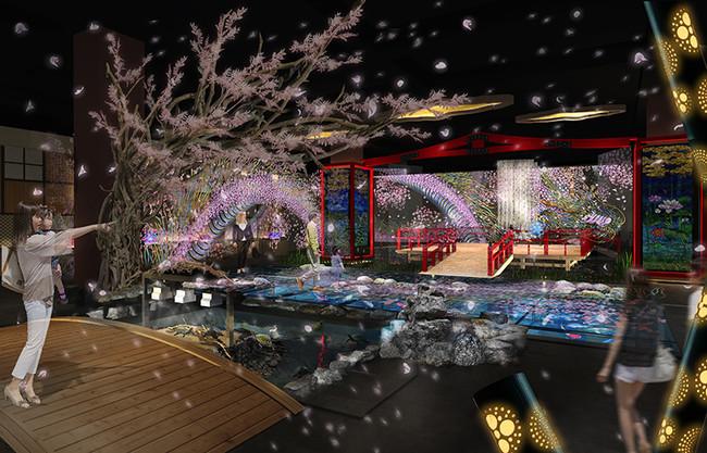 新感覚水族館atoa(アトア)の日本の風光明媚な和の世界を表現するゾーン「MIYABI-和と灯の間」