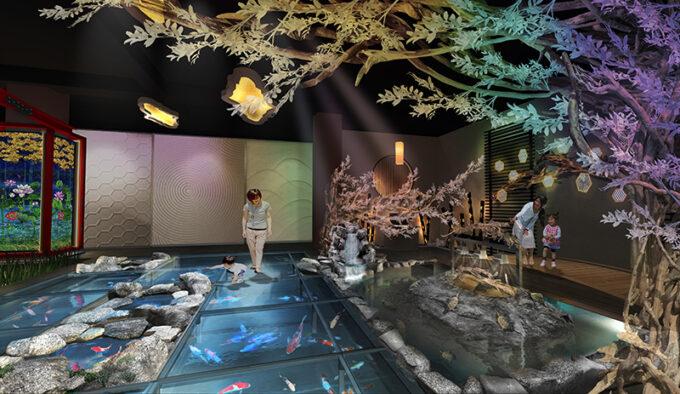新感覚水族館atoa(アトア)の「MIYABI-和と灯の間」での日本庭園の上を歩く不思議な体験
